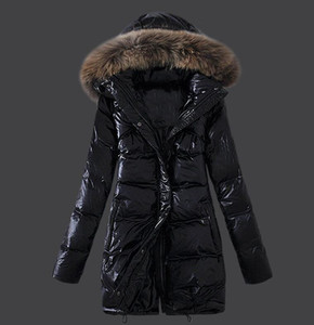 Brand Real Raccoon Fur Collar Hood Down Jacket Winter Coat Women Outerwear Slim Parkas Collar Down Jacket