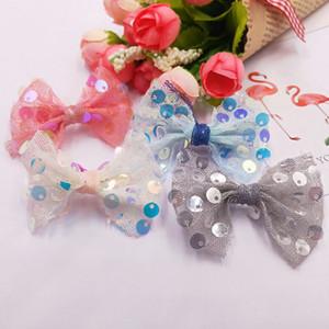 32pcs lot 5.5*4.5cm Fashion Cute Sequin Hair Bow Appliques Gauze Bowknot for Headwear Boutique Hair Accessories