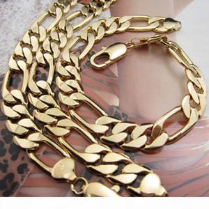 """Collier Mens Bracelet Set chaîne lourde 18k solide jaune or rempli 12mm Figaro Chain Link hommes Ensemble de bijoux (23.6"""" , 8.6"""" )"""