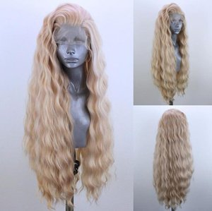70CM Long Wavy Wigs Cosplay Natural Synthetic Womens Blonde Wig Heat Resistant Hair