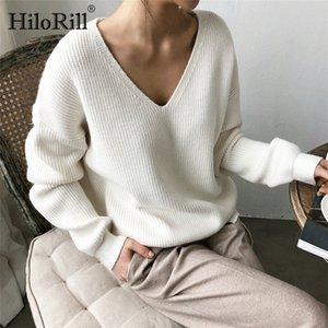 HiloRill mujeres suéter suéter 2020 tops casuales Solid cuello en V manga larga de punto suéteres de otoño invierno de la cachemira floja Túnica