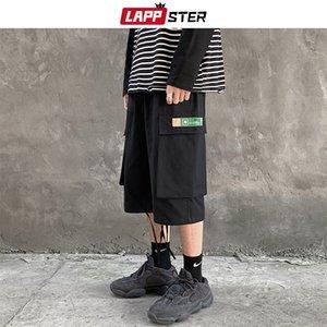 La moda de los hombres LAPPSTER Ins Corea del cargo Shorts 2020 Verano Negro de bolsillo multifunción pantalones cosechados Streetwear Sweatshorts 5XL