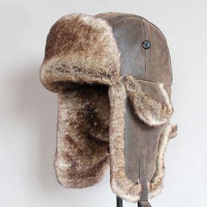 Bomber Cappelli inverno degli uomini caldi del cappello Ushanka russo con l'orecchio del cuoio della falda Pu Fur Trapper Cap Earflap T200718
