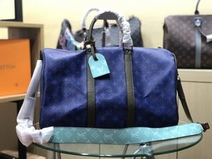 blue brown Keepall Bandoulière 45cm Designer Womens Mens Travel Duffle Duffel Bag Luxury Rolling Softsided Luggage Set Suitcase M43538