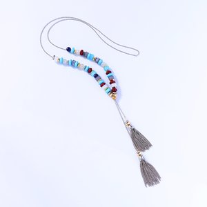 Blue Beads Long Necklace Rhodium COlor Sweater Chain Winter New Arrival Acrylic Tassel Pendant