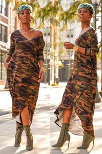 Платья Камуфляж Нерегулярное лето женщин платья Глубокий V шеи длинным рукавом Повседневные платья Сыпучие Мода Стиль Maxi