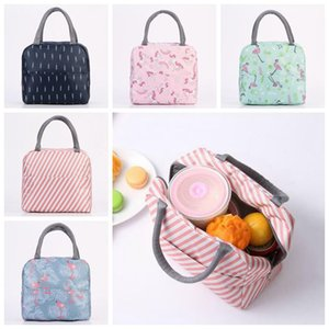 5 Styles Geometric Printed Oxford Lunch Bag Portable Insulated Thermal Food Picnic Lunch Bags Stripe Cooler Lunch Box CCA11003 60pcs