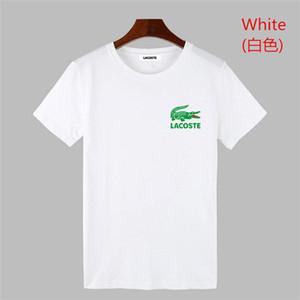 O crocodilo 2019 homens Rampo rampo Manga Curta T-shirt branco stripe top bottom camisa em torno do pescoço meia manga comprida T-shirt roupas da moda