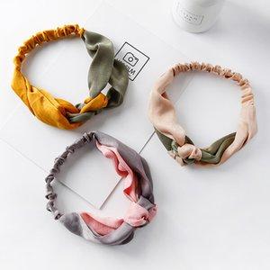 Koreanisch Einfach Süß Stitching Knot breite Krempe Kreuz Retro Satin Mittel geknotete Farbe Stirnband für Frauen Mode Haarschmuck