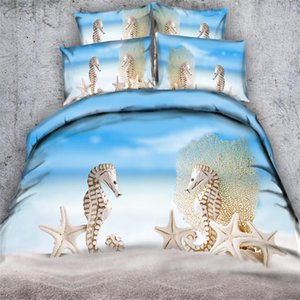 3D Beach Scenery Bed Cover Set Euro size Bedclothes Adults Kids Bed Linen Set Pillowcase Twin Full Bedding for Home Textile