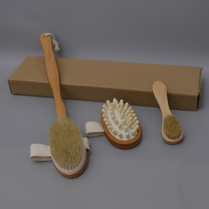 3pcs / set Bath Brush Set seco pele do corpo escova de cerdas macias Natural Bath madeira Duche Brushes SPA Corpo Escova Com removível Handle DBC BH3895