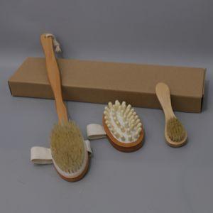 3pcs / set bain de brosse de peau sèche du corps doux naturel Brosse de bain en bois Douche Brosses corps SPA Brosse avec poignée amovible DBC BH3895