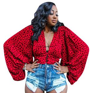 2020 여성 고체 우아한 표범 인쇄 깊은 V 넥 배트 윙 긴 소매 블라우스 셔츠 패션 탑