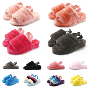 Neue Schneerutschen Winter Pantoffeln Warme Mädchen Innen-Baumwolle Schnee dlippers schwarz rot weiss grün Damen Frauen Sandalen Schuhe