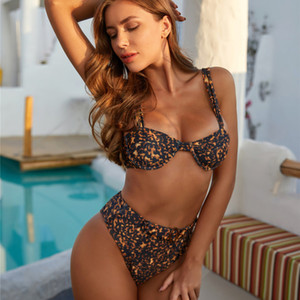 Deep Leopard Bikinis High Wasit Bikini Swimming Suit Women Swimwear 2020 New Push Up Paadded Bathing Suit Ring Belt Swimsuit