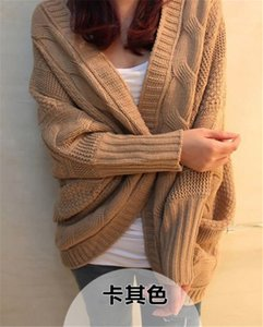 Wholesale-Winter Spring Coarse Wool Cardigan Women Brand Fashion Full Batwing Sleeve Sweaters Casual Women's Clothing 8 Colors