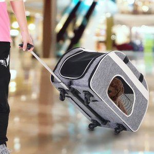 Foldable Pet Carrier with Wheels Oxford Fabric Aluminum Small Medium Dogs