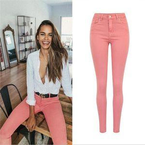 SupSindy Hot Jeans femme mode rose stretch jeans slim femme hanches taille haute pour les femmes pantalons crayon pantalon denim