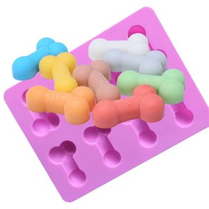 Silikon-Eis-Form Lustige Süßigkeit Keks Eis-Form-Behälter Bachelor Party Jelly Schokoladen-Kuchen-Form Haushalt 8 Löcher Werkzeuge Mold BWD601 Backen