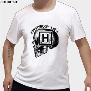 Ropa de gran tamaño Dr House Everybody Lies cráneo Camisetas divertidas adolescente Pre-algodón de manga corta camisetas de alta calidad de encargo