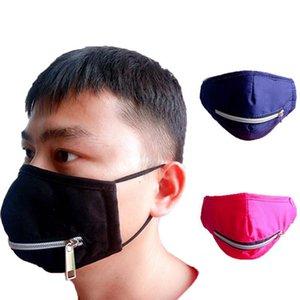 Fashion Zipper Face Mask Personality Staubdichtes Schutzmundmaske Sommer wiederverwendbare Zipper Cotton Radfahren Masken IIA287