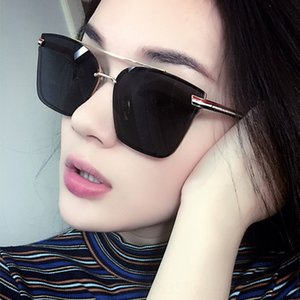 New Korean style sun glasses 8512 colorful reflective sunglasses versatile square frame sunglasses