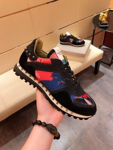 NEW Fashion Rock Runner Camouflage Leather Sneakers Shoes Men,Women Rock Studs Outdoor Casual CAMUSTARS Trainers sports shoes Size