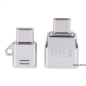 VBESTLIFE Type C OTG 2pcs Sets Micro USB Female to Type C USB Male OTG Adapter Charger Zinc Alloy Set Suit with Metal Lanyard