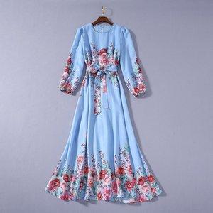 2020 Verano de lujo más nuevo de manga larga de cuello redondo y estampado floral con paneles con cinturón azul vestido maxi largo del cauce vestidos JL082327