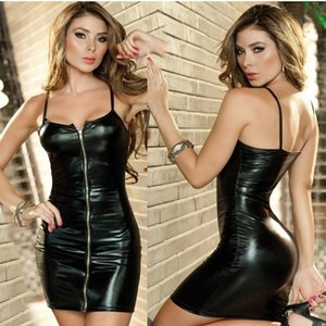 Сексуальное белье лакированной кожи нижнее белье Длинные юбки застежка-молния длинная юбка патент сексуальный ночной клуб искушение кожа молния