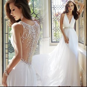Classic White Boho Wedding Dress for Marriage Ceremony A-Line Deep V-Neck Party Wear Gown for Wedding Latest Beaded Back Honeymoon Dress