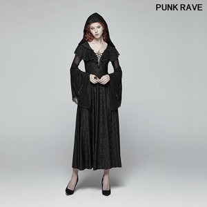 Gothic Vintage Witch Lace Sexy Evening Party Dress Fashion Medieval Long-sleeved Jacquard Hooded Dresses PUNK RAVE WQ-401LQF