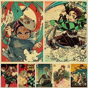 Demon Slayer: Kimetsu hiçbir Yaiba Tanjirou Nezuko Anime Poster Kraft Kağıt Vintage Posterler Ev Odası Sanat Duvar Etiketler