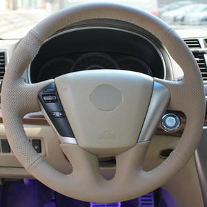 Beige Leather Hand-stitched Car Steering Wheel Cover for Nissan Teana Murano