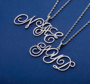 Hip Hop Custom Name Cursive Letters Pendant New Combination Letters Name Pendant with 3mm rope chain Zirconia Jewelry