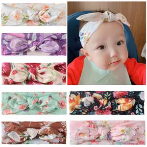Bebek Çiçek Kafa 7 Renk Baskılı Tavşan Bow-kravat hairbands Bebek Bebek Küçük Çiçek Şapkalar Çocuk Butik Saç Aksesuarları 060714