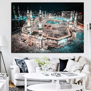 Islam Pilgrimage To Mecca Sacred Mosque Night Landscape Canvas Painting Poster Prints Wall Art Pictures Religious Home Decor