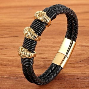 TYO High Quality Punk Double Layered Braided Genuine Leather Bracelets with 3Pcs Charms Stainless Steel Gold