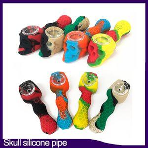 Tubo de silicona cráneo con el bol de vidrio de silicona de grado alimenticio fumar bolsillo Multi Propósito de tubo quemador de aceite tabaco Hookah Pipe
