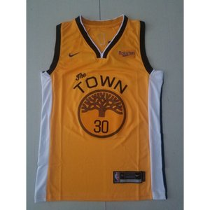 2019-20 New season #30 CURRY basketball jerseys top yellow Cheap stitched Basketball jerseys