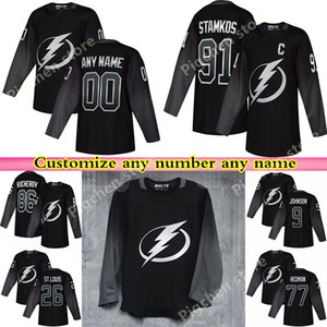 Tampa Bay Lightning Black Alternate Джерси хоккей 91 Стэмкоса 86 Кучера 77 Виктор Hedma Blank Sitiched Джерси