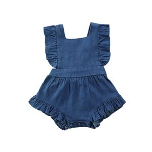2020 Baby Summer Clothing Newborn Infant Baby Girls Romper Solid Denims Playsuits Ruffled Sleeveless Strap Sunsuit High Quality