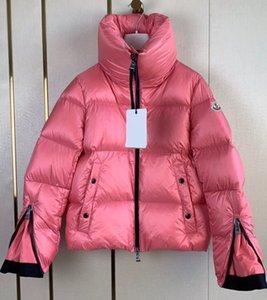 Marca mujeres brevemente abajo chaquetas de la señora del diseñador de invierno delgada chica Escudo caliente del collar del soporte hacia abajo Outwear
