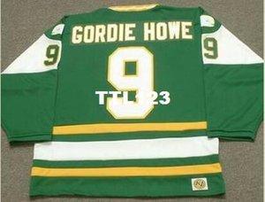 Men # 9 Gordie Howe New England Whalers 1978 WHA Hockey Jersey oder benutzerdefinierten beliebigen Namen oder Nummer Retro Jersey