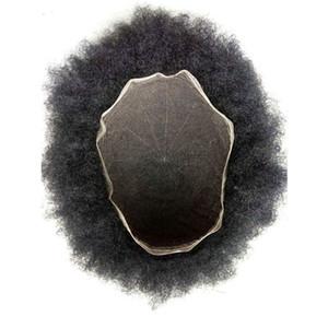 Aohai Toupet für Männer Afro verworren Curly Toupet Alle Lace Toupets Breath Menschliches Haar Gebleichte Knoten indisches Haar-System