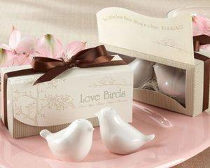 Gros- cadeau faveur de mariage et des cadeaux pour les clients - en céramique Love Birds Sel et poivre Shaker 200pieces souvenir du parti = 100sets