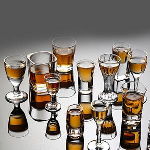 6PCS Kristal Kupası Cam Kupası Yaratıcı Spirits Şarap Cam Kupası Gözlük Parti Büyüleyici Kalın Dip Kupası İçme Shot
