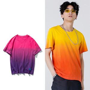 Shirt décontracté Couples Porter Gradient High Street Hommes T-shirts d'été Cravate unisexe en vrac Die T