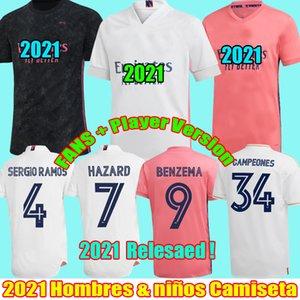 2021 Real Madrid camisetas de fans Jugador 2.020 peligro isco ramos sergio VINICIUS fútbol Modric bala 20 21 camiseta de fútbol hombres hijos CAMISETAS kit