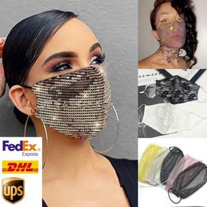 US STOCK, Designer-Maske Gesichtsschutzabdeckungen für Erwachsene Art und Weise Sequin / Spitze / crtstal Gesichtsmaske Gold Schwarz-Abendkleid-Partei-Schablone